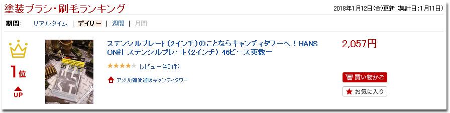 HANSON社プラスチック・ステンシルプレート46ピース英数字セット(2インチ)