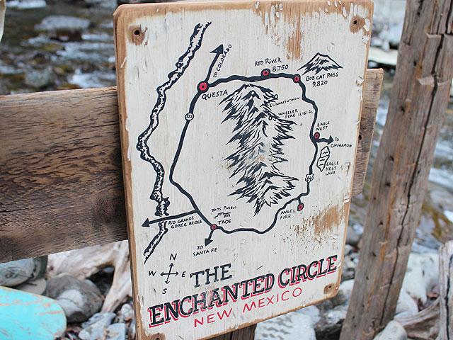 ニューメキシコ州マップの木製看板