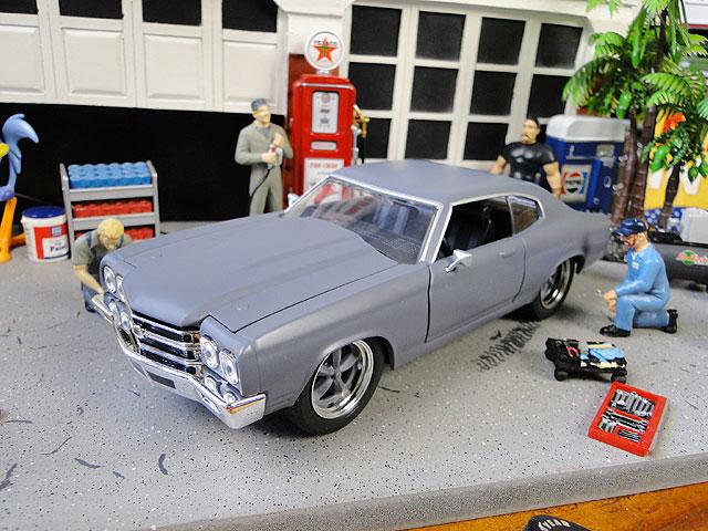 Jada 映画「ワイルドスピード」のダイキャストモデルカー 1/24スケール(ドム/シェビー・シェベルSS1970プライマーグレー)