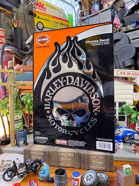 ハーレーダビッドソン オフィシャルステッカー ビッグサイズ・クロームデカール(ハーレースカル)