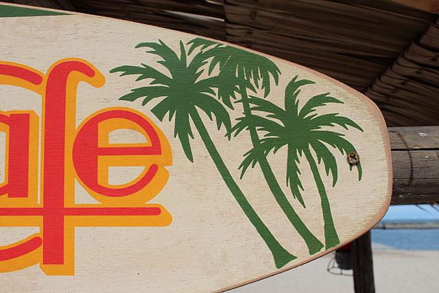 サーフライダーカフェの木製看板