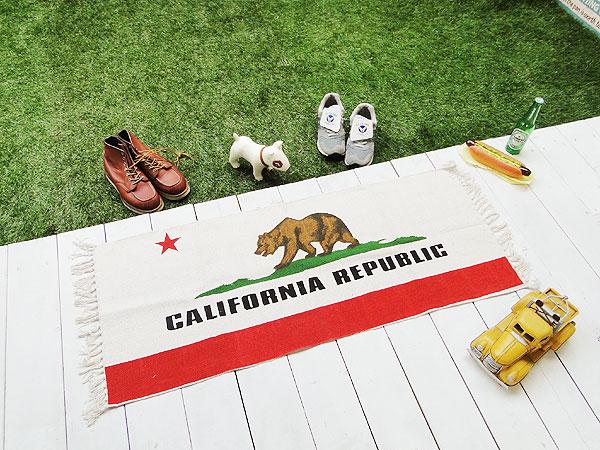 カリフォルニア州旗のコットンマット(キッチンマット)