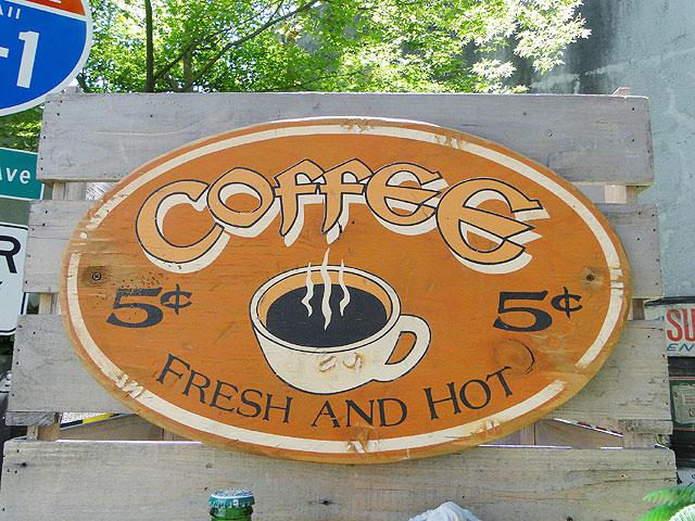 コーヒーショップの木製看板