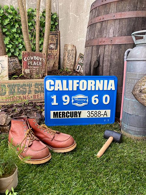 マーキュリーのエンボス・ガレージサイン(カリフォルニア)