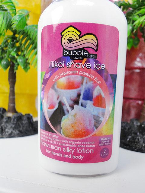 ハワイのセレブ達も愛用するオーガニック・ボディローションバブルシャックシルキーボディローション(リリコイシェイブアイス)