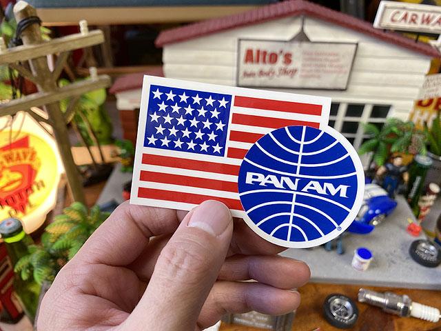 パンナムのオフィシャルステッカー(星条旗&ラウンドロゴ/PA-S28)