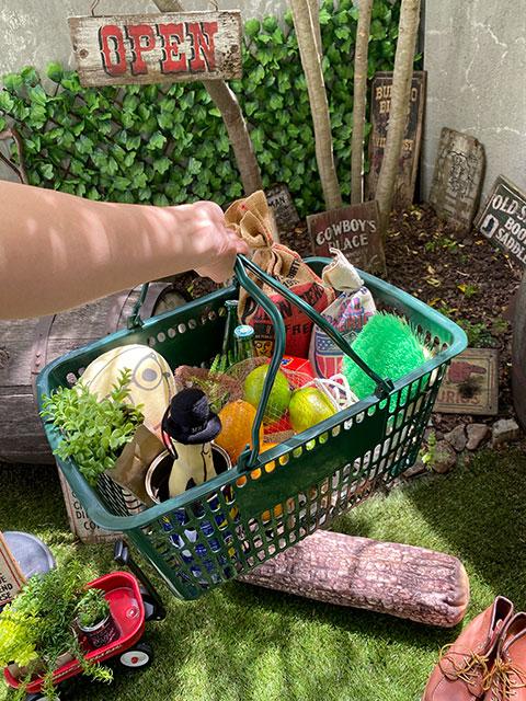 業務用スーパーマーケットの買い物カゴ USED品(ディープグリーン)