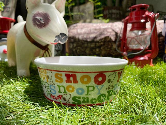 スヌーピーのドッグディッシュ(Snoopy Typography)ペットボウル 犬用食器 猫 フードボウル エサ皿