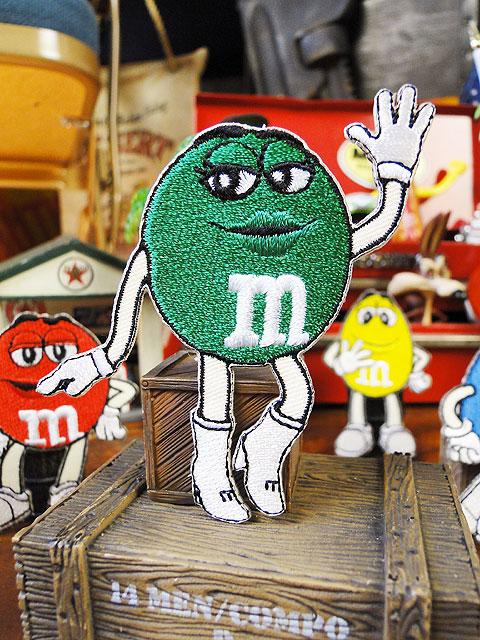 m&m'sのキャラクターワッペン Mサイズ(グリーン)