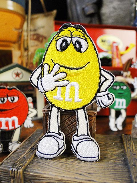 m&m'sのキャラクターワッペン Mサイズ(イエロー)
