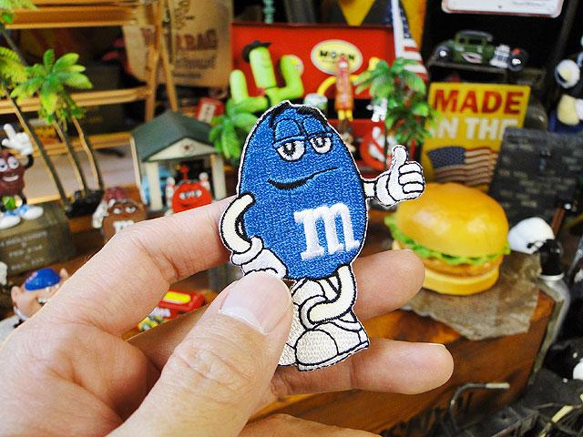 m&m'sのキャラクターワッペン Mサイズ(ブルー)