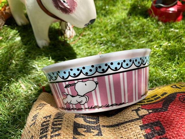 スヌーピーのドッグディッシュ(Snoopy Pink Stripes)ペットボウル 犬用食器 猫 フードボウル エサ皿