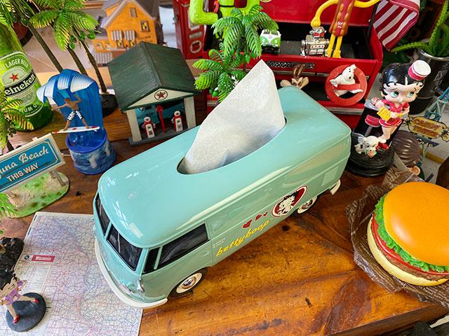 「ベティ・ブープ」コラボモデル ワーゲンバスのティッシュボックス(ミントグリーン)