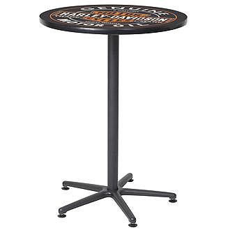 ハーレーダビッドソンのバーテーブル(ヴィンテージオイル缶ロゴ)