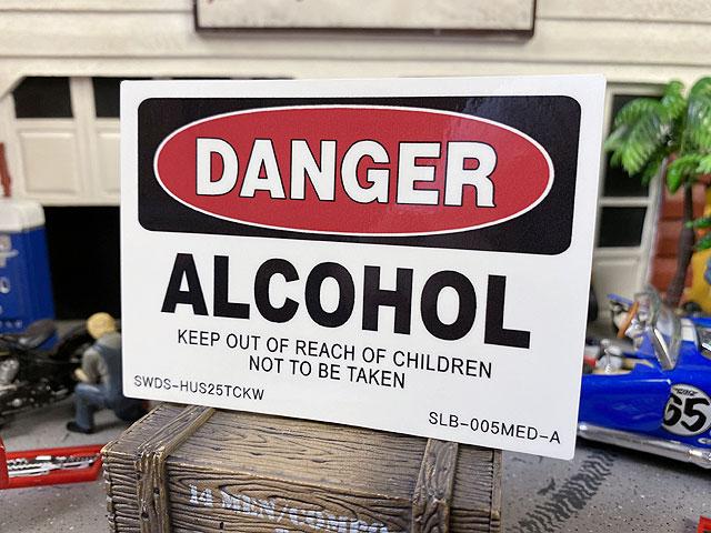 警告看板ステッカー(危険:アルコール/DANGER)SLB-005-MED-A