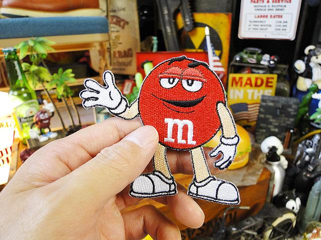 m&m'sのキャラクターワッペン Lサイズ(レッド)