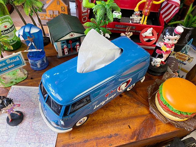 「ベティ・ブープ」コラボモデル ワーゲンバスのティッシュボックス(ブルー)