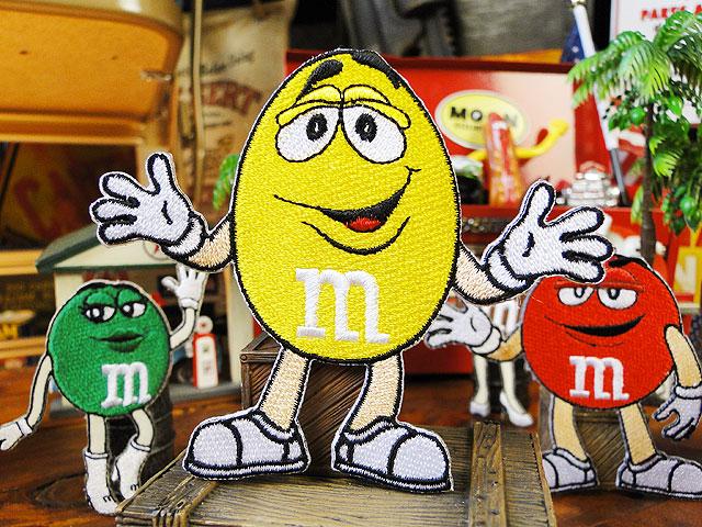m&m'sのキャラクターワッペン Lサイズ(イエロー)