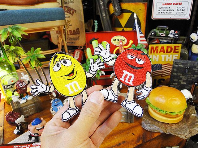 m&m'sのキャラクターワッペン Lサイズ(2色セット)
