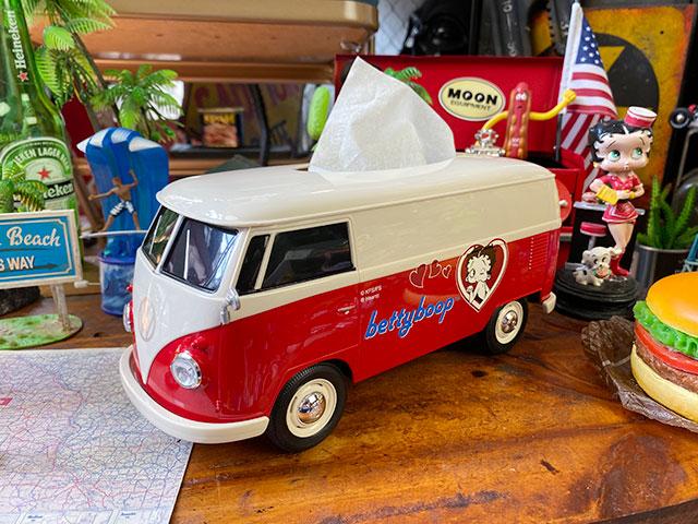 「ベティ・ブープ」コラボモデル ワーゲンバスのティッシュボックス(ツートンレッド)