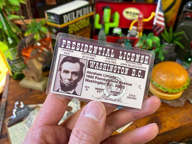 フェイマスピープルのライセンスカード(第16代アメリカ合衆国大統領エイブラハム・リンカーン)