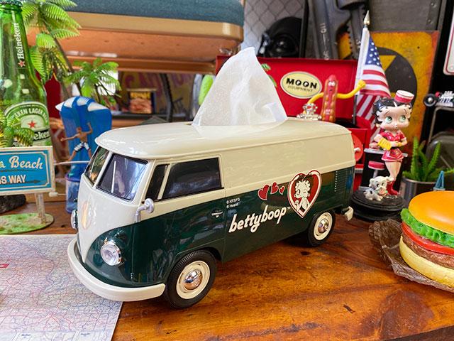 「ベティ・ブープ」コラボモデル ワーゲンバスのティッシュボックス(ツートングリーン)