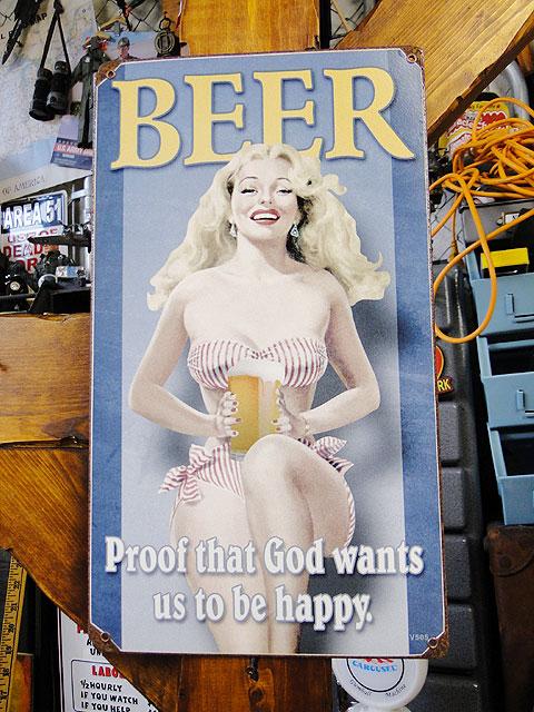ビール&ピンナップガールのU.S.ヘヴィースチールサイン