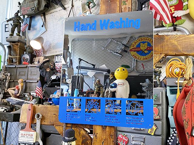 「手を洗いましょう」のミラーサイン