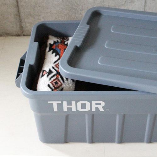 トラスト ソーストレージコンテナ(フタ付き)THOR 53Lサイズ1個+22Lサイズ2個の合計3個セット(グレー)