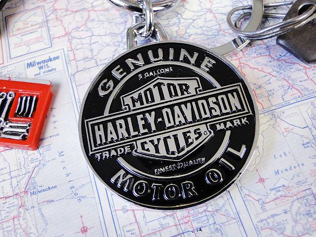 ハーレーダビッドソンのメタルキーリング(モーターオイルロゴ)