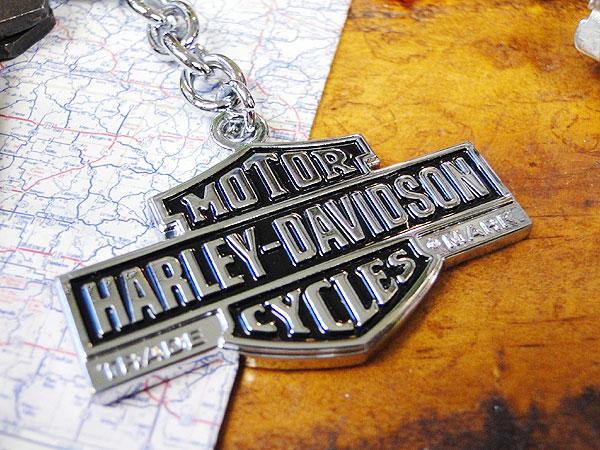 ハーレーダビッドソンのメタルキーリング(バー&シールド・ヴィンテージ/シルバー)