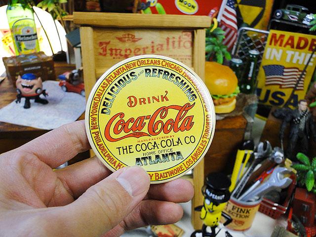 コカ・コーラのマグネットシート(木樽ラベル/ラウンド)