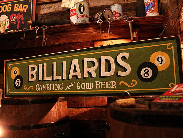 ビリヤードの木製看板(ロングタイプ)