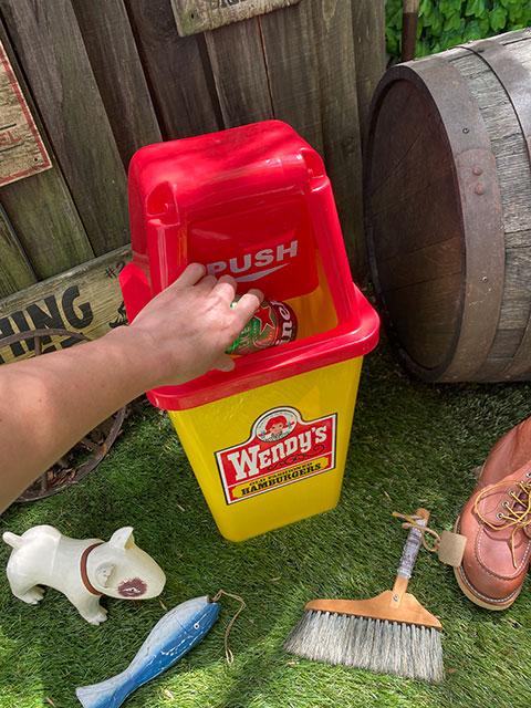 ウェンディーズのダストビン 20Lサイズ ゴミ箱(オールドロゴ/イエロー)