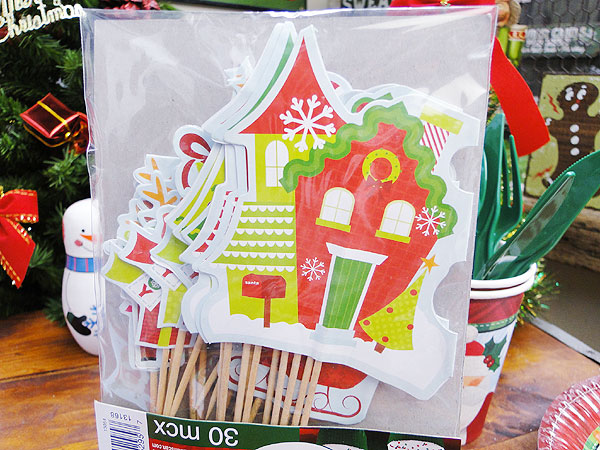 クリスマスシーンのカップケーキピック30個入り