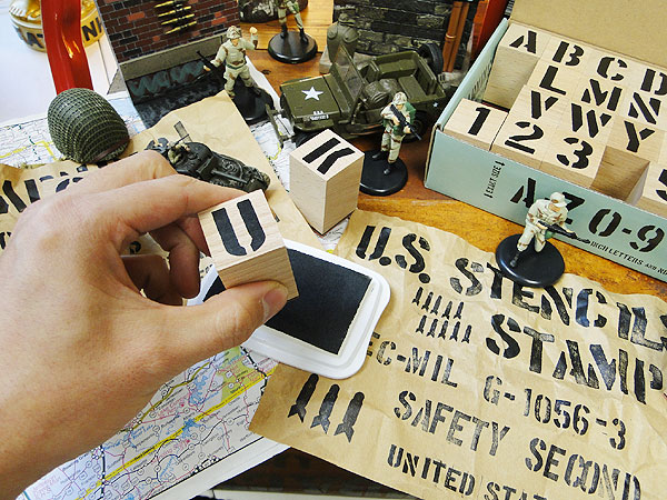 U.S.ミリタリーステンシルスタンプ42Pセット文字サイズ(2.5cm/1インチ)Lサイズ