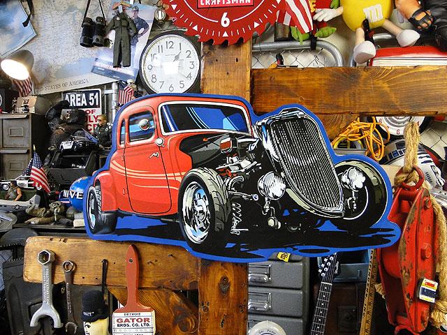 33年式フォード・5ウインドウ・クーペのホットロッドカーのエンボスティンサイン