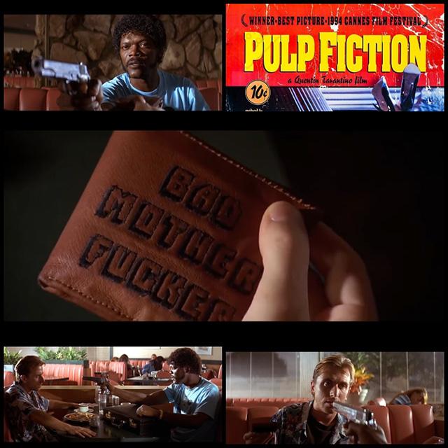 映画「パルプフィクション」ジュールズの財布に刺繍されてたXXXフレーズのマグカップ