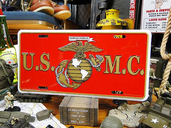 U.S.マリーンのミリタリーライセンスプレート(U.S.M.C.イーグル)