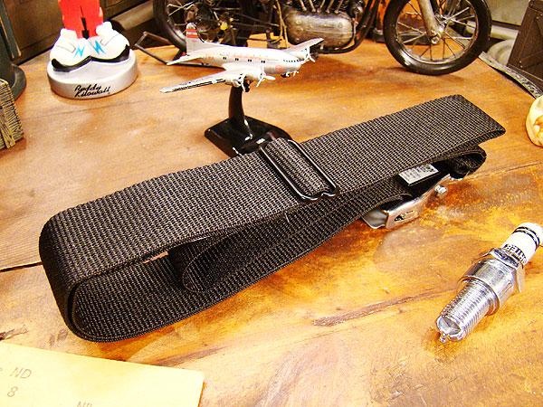 航空機シートベルト仕様のベルト(ブラック)