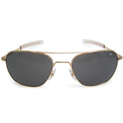 AO(アメリカン オプティカル)パイロット サングラス 57mm Gold [ラージ サイズ レンズ][ミリタリー仕様][ストレート テンプル]【送料無料】