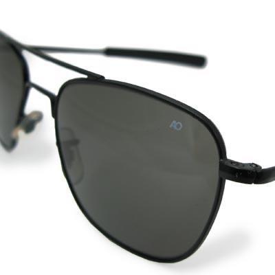 AO(アメリカン オプティカル)パイロット サングラス 52mm Black [ミリタリー仕様][ストレート テンプル]【送料無料】