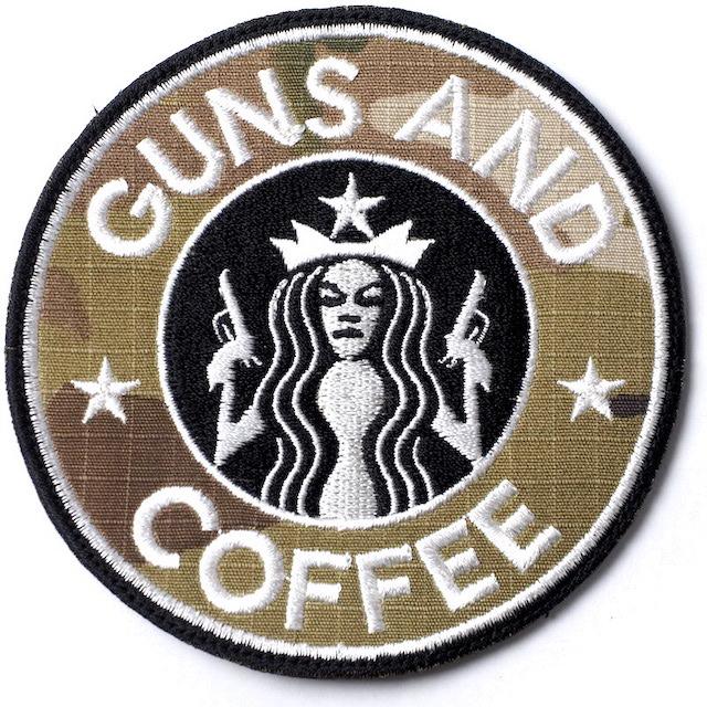 【ミリタリー パッチ】GUNS AND COFFEE マルチカム [フック付き]