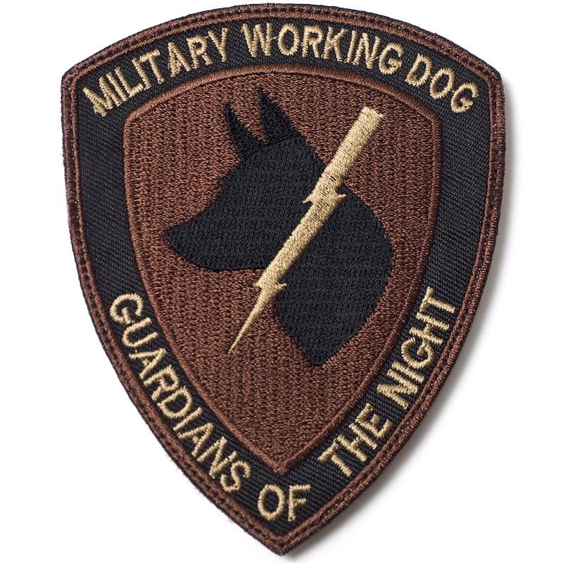 【ミリタリーパッチ】シールド型 MILITARY WORKING DOG スパイスブラウン OCP [フック付き]