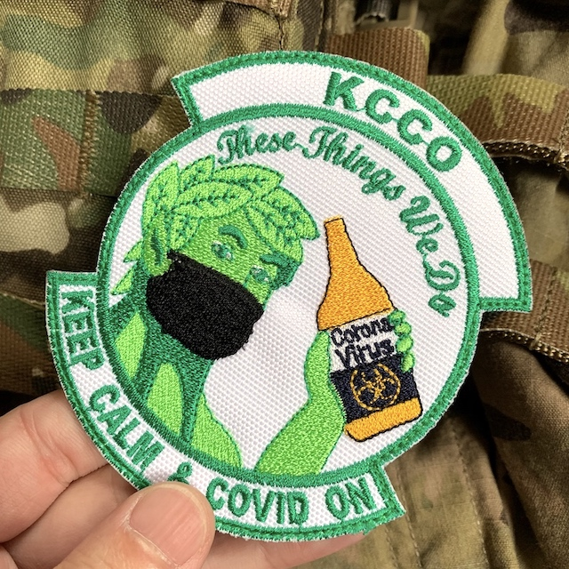 【ミリタリーパッチ】KCCO ジョリーグリーン  ブラックマスク フルカラー [フック付き]