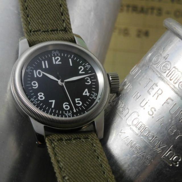 M.R.C. WATCH CO.(モントルロロイ)U.S.ARMY AIR FORCE TYPE A-11 パイロットウオッチ 12時間ブラックダイアル [クォーツムーブメント][WW2 REPLICA][黒文字盤]