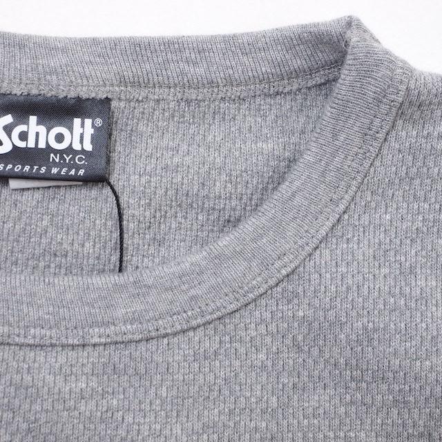 Schott(ショット)L/S HONEYCOMB SHOTT LOGO ONE POIN TEE ロンT [3色] [3113152]