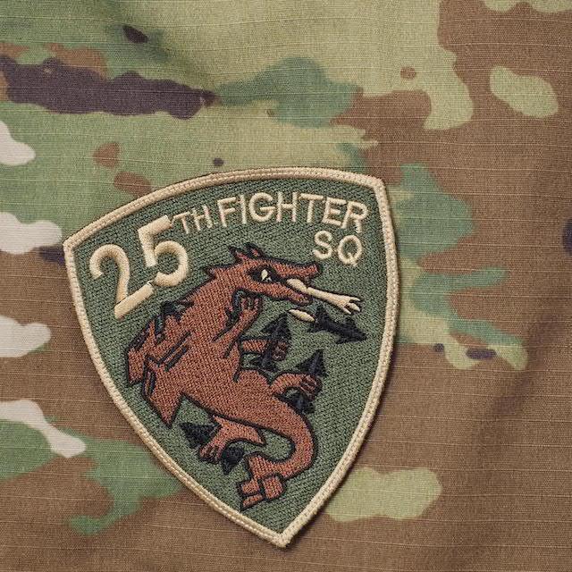 【ミリタリーパッチ】25TH FIGHTER SQ パッチ [スパイスブラウン] [フック付き]