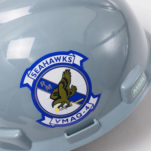 US(米軍放出品)VMAQ-4 SEAHAWKS セーフティーヘルメット [Grey][MSA Safety Helmet][Type1 Protective Helmet]