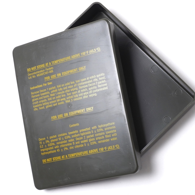 US(米軍放出品)プラスティック デコンケース [OD][Decontamination Packets]